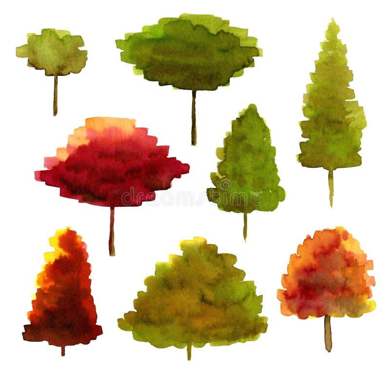 Aquarellillustration von bunten Bäumen der Sammlung Lokalisierter Satz des Herbstes Bäume lizenzfreie abbildung