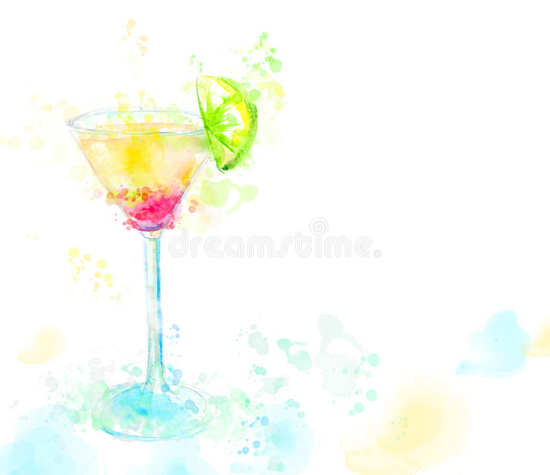 Aquarellillustration von Cocktail Tequila stock abbildung