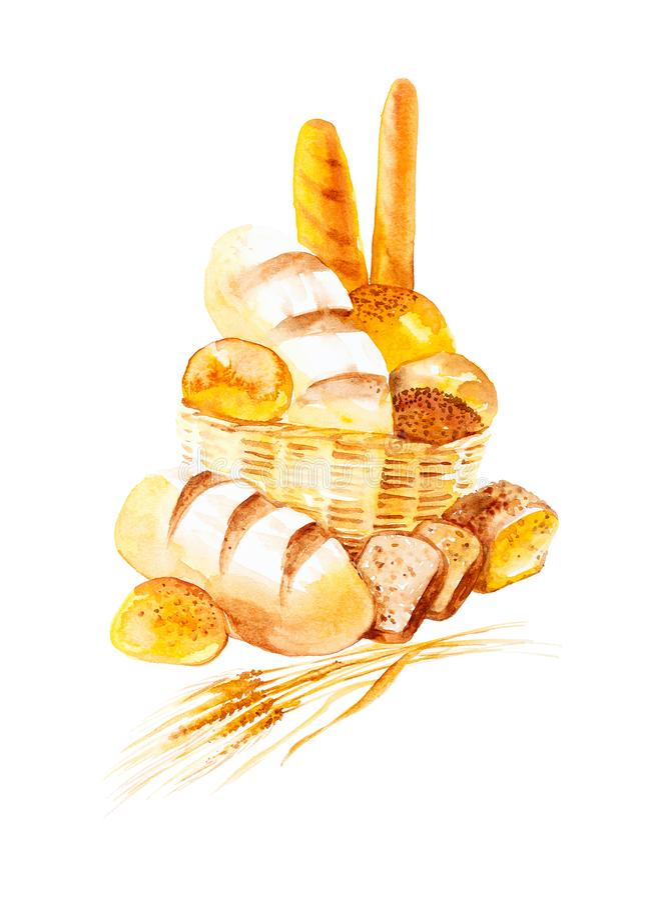 Aquarellillustration von Weizen?hren, von verschiedenen Br?tchen und von Brot Getrennt auf wei?em Hintergrund lizenzfreie abbildung