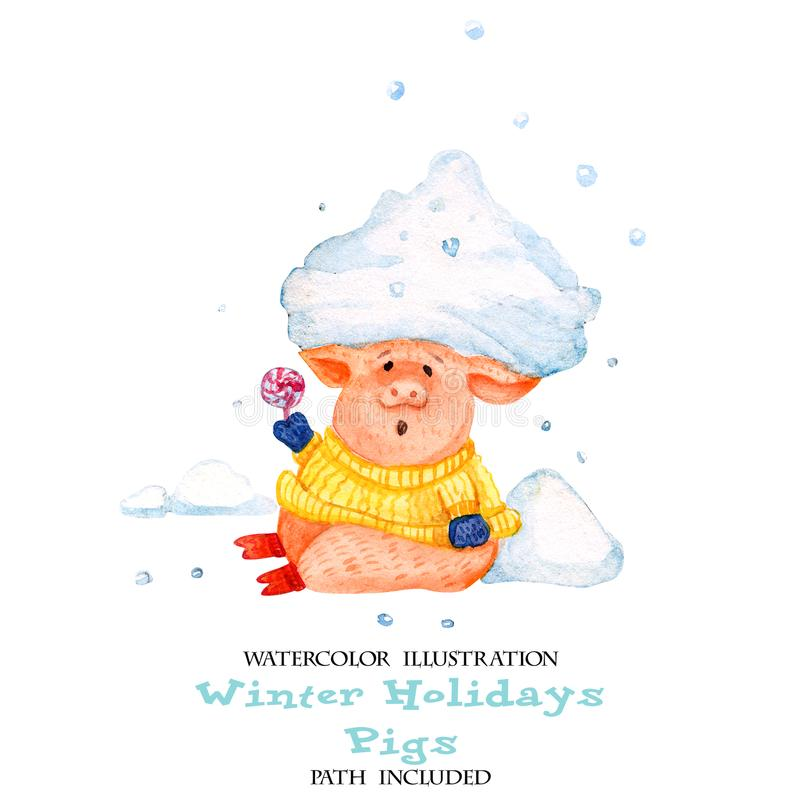 Aquarellillustration von Winterspaßschweinen Ferkel mit einer Schneewehe auf seinem Kopf vektor abbildung