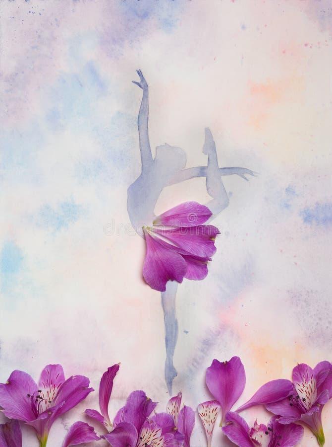 Aquarellillustrationsschattenbild eines Balletttänzers vektor abbildung
