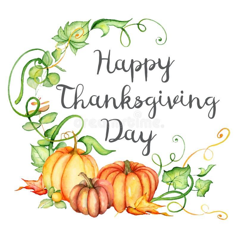 Aquarellkürbis und Herbstlaubkarte Erntezusammensetzung Glücklicher Danksagungs-Tag Hand gezeichnete vektorabbildung lizenzfreie abbildung