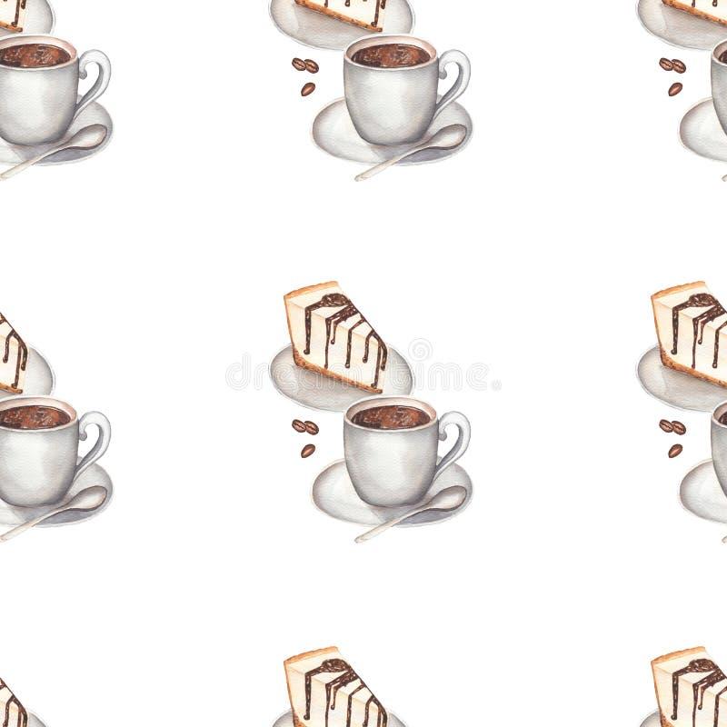 Aquarellkaffee mit nahtlosem Muster des Käsekuchens vektor abbildung