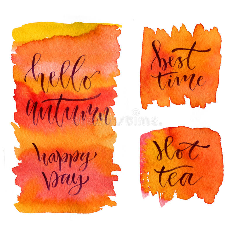 Aquarellkalligraphiekarten Bedruckbares Plakat mit Phrasen - hallo Herbst, glücklicher Tag, beste Zeit und heißer Tee lizenzfreie abbildung
