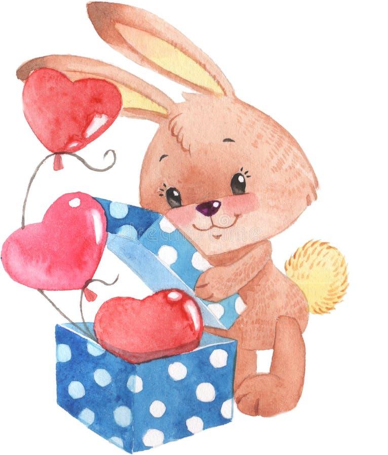 Aquarellkaninchenhasen mit Kasten der lokalisierten Illustration der Herzen Geschenk auf weißem Hintergrund lizenzfreies stockfoto