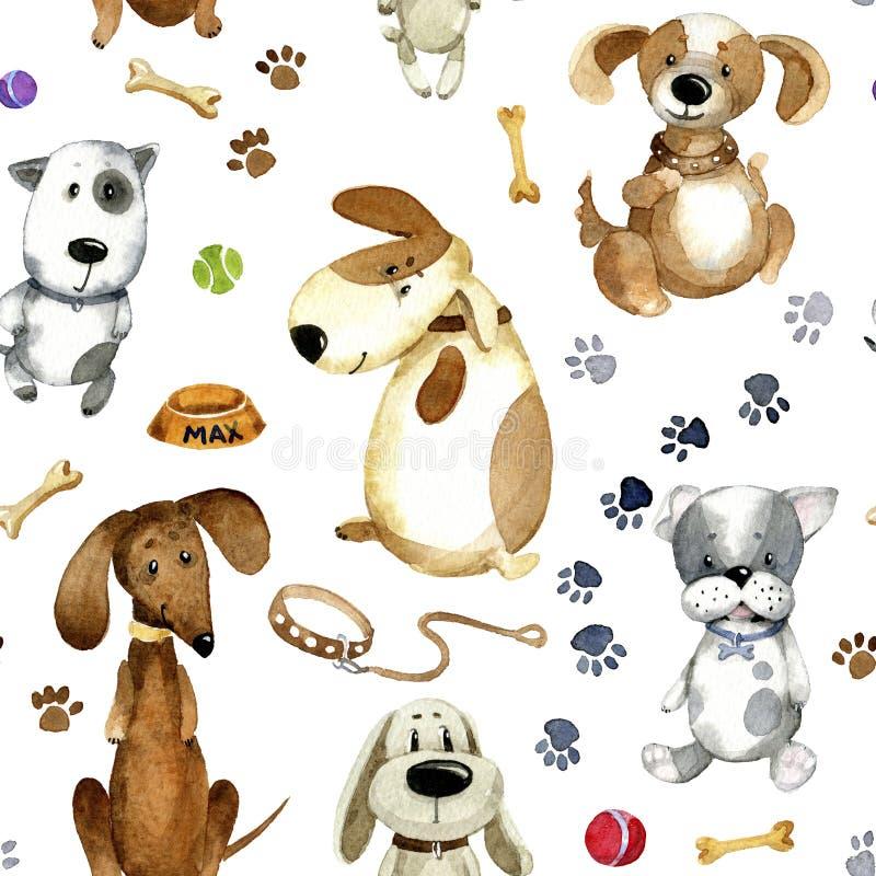 Aquarellkarikaturillustration Nahtloses Muster von netten Karikaturhunden und -ihrem Zubehör lizenzfreie abbildung
