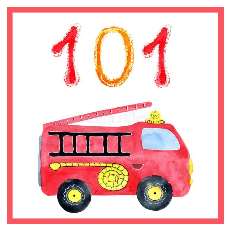 Aquarellkarikaturretter Zeichnen von Rettungsdiensten für die Ausbildung, Karten, Schule, Kindergarten, Bücher, Kalender, Plakate vektor abbildung