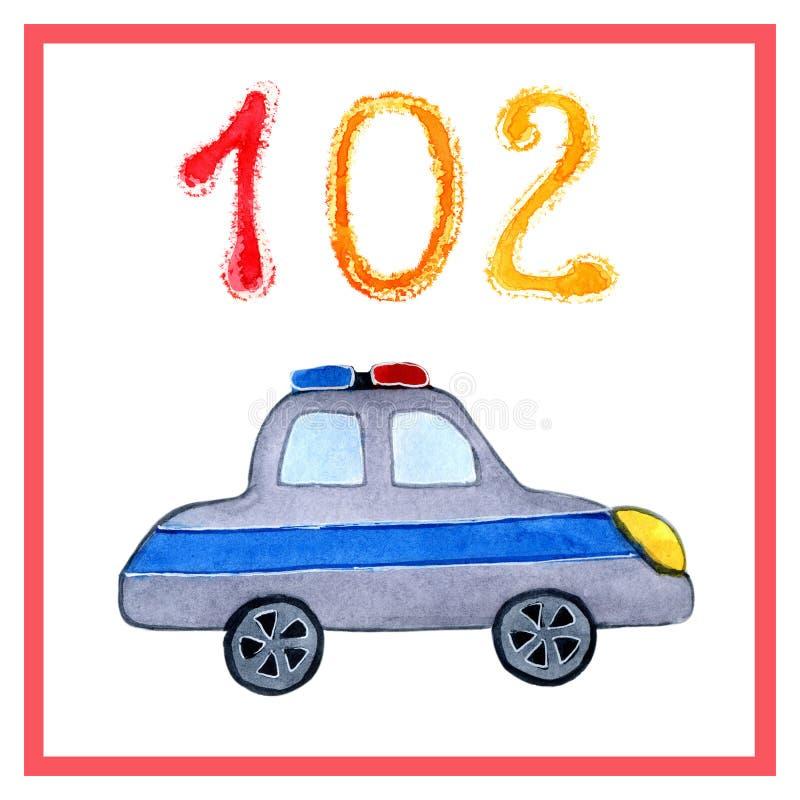 Aquarellkarikaturretter Zeichnen von Rettungsdiensten für die Ausbildung, Karten, Schule, Kindergarten, Bücher, Kalender, Plakate stock abbildung