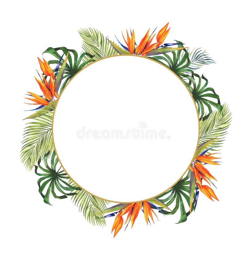 Aquarellkarte glückliches Halloween Rundes Feld Zweig Viburnum Ein rechteckiger Rahmen auf dem Rand, Herbstlaub, Spinnennetze, Sc lizenzfreie abbildung