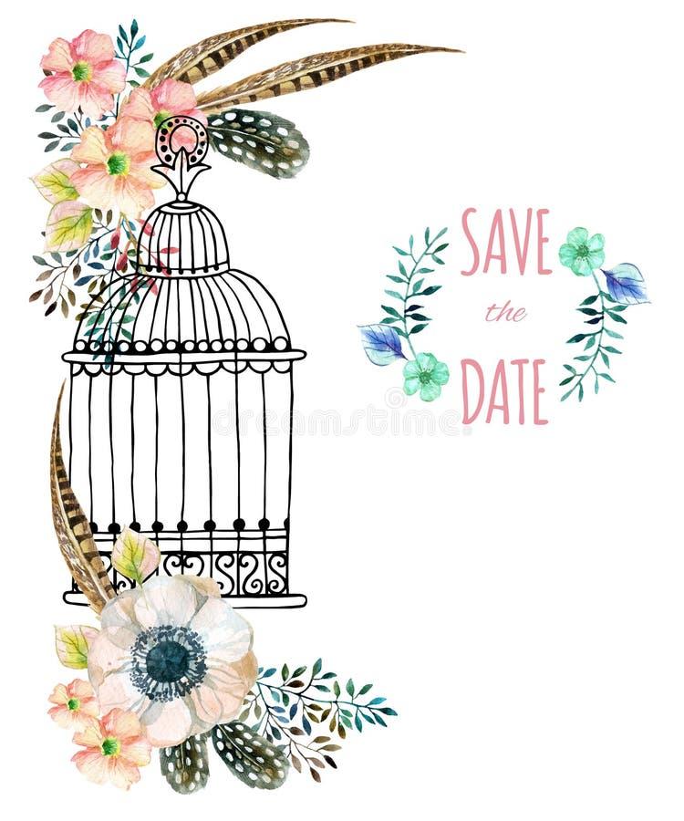 Aquarellkarte mit Vogelkäfig und Blumen stock abbildung