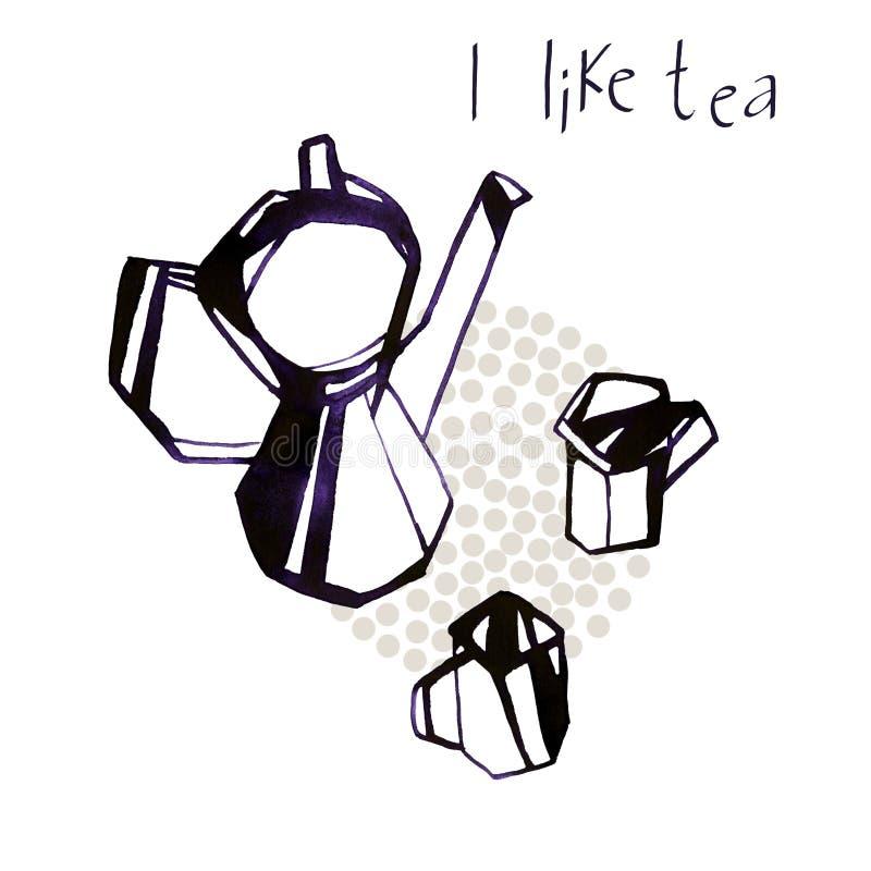 Aquarellkessel und nahtlose Musterillustration der Teeschalen auf weißem Hintergrund lizenzfreie abbildung