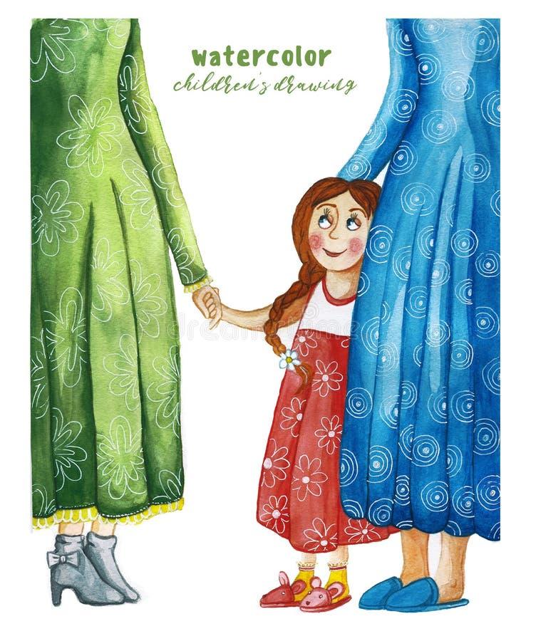 Aquarellkind-` s Zeichnung der Mutter und der Krankenschwester mit dem Kind ein Mädchen in einem roten Kleid und in einem Zopf, d lizenzfreie abbildung