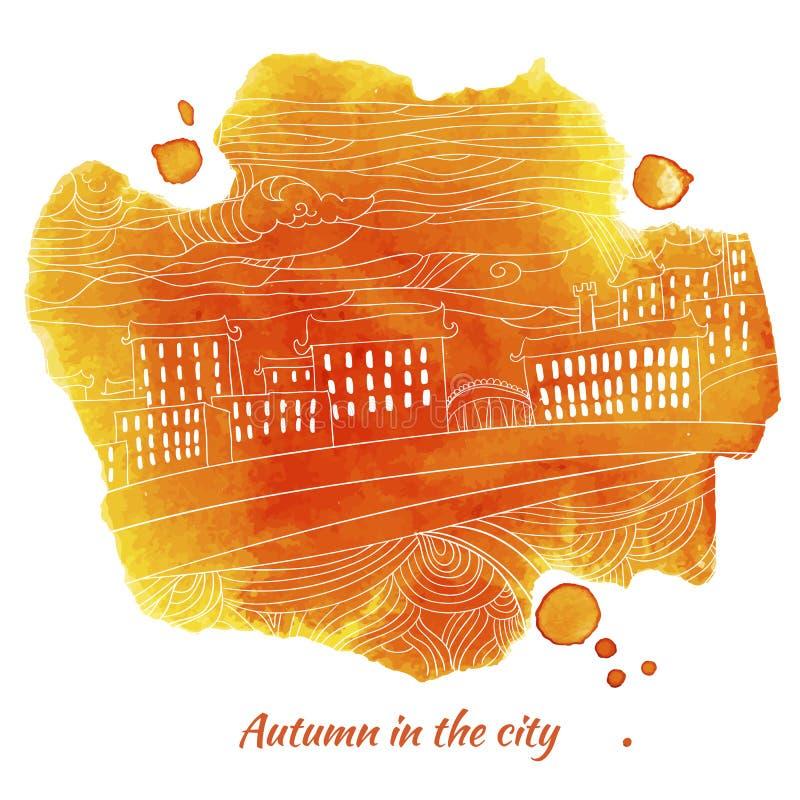 Aquarellkleckskarte für Herbstmitteilung stock abbildung