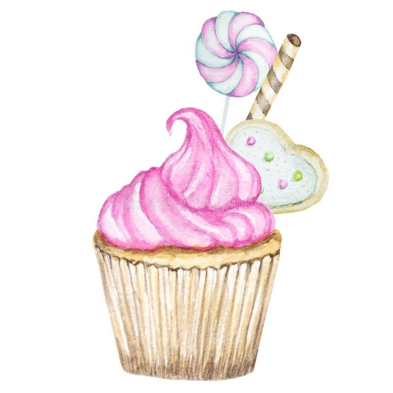 Aquarellkleiner kuchen, Handgezogene köstliche Nahrungsmittelillustration, Kuchen lokalisiert auf weißem Hintergrund vektor abbildung