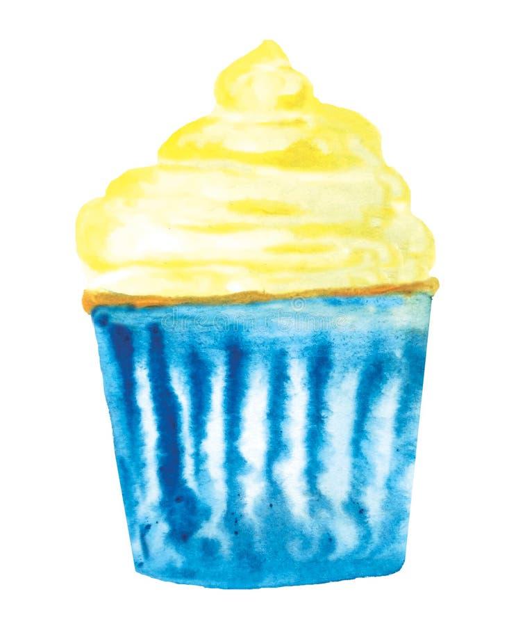 Aquarellkleiner kuchen Rasterillustration für Menüentwurf, Karten, Einladungen stock abbildung