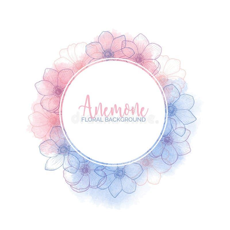 Aquarellkranz mit Blumenanemonen Rose Quartz und Ruhe stockbilder