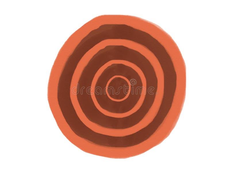 Aquarellkreislogo-Hintergrundpastellisolat der WeichFARBweinlese abstraktes mit farbiger Brauntönefarbe lizenzfreie stockfotos