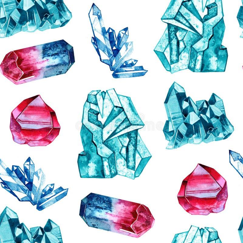 Aquarellkristalledelsteine Hand gezeichnetes nahtloses Muster auf weißem Hintergrund lizenzfreie abbildung