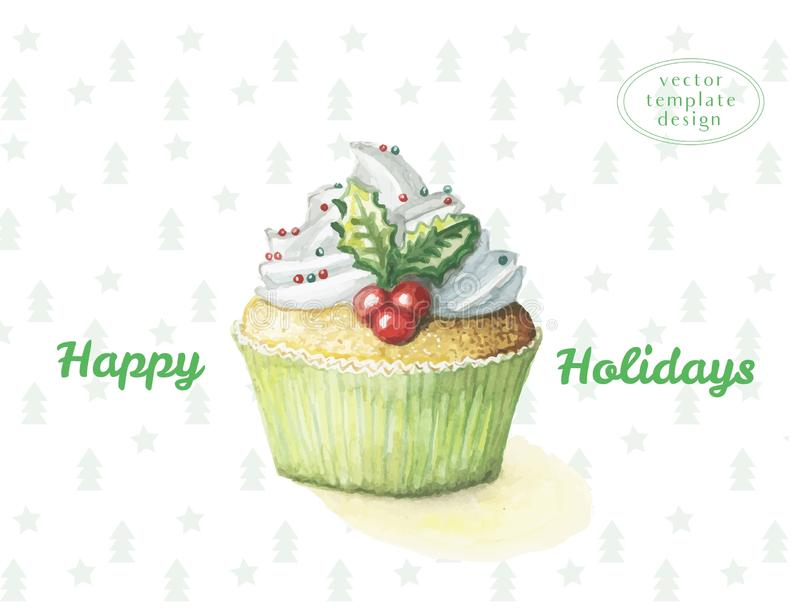 Aquarellkuchen-S?ssekleiner kuchen f?r das neue Jahr und das gl?ckliche Weihnachten, auf dem Hintergrund des Weihnachtsmusters vo lizenzfreie stockfotos