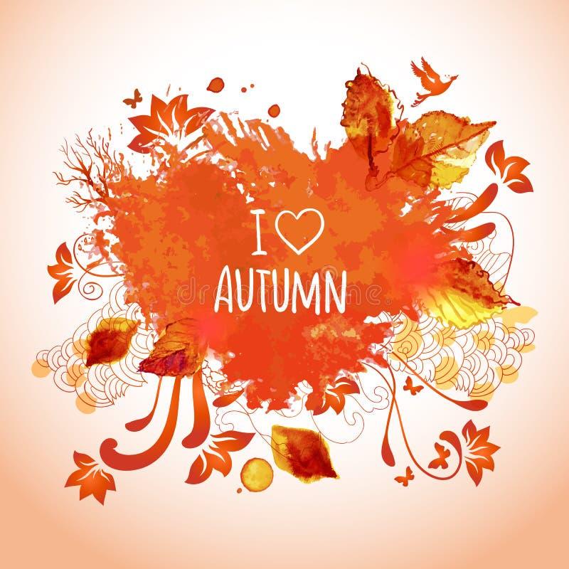 Aquarellkunst für Herbsttätigkeiten lizenzfreie abbildung