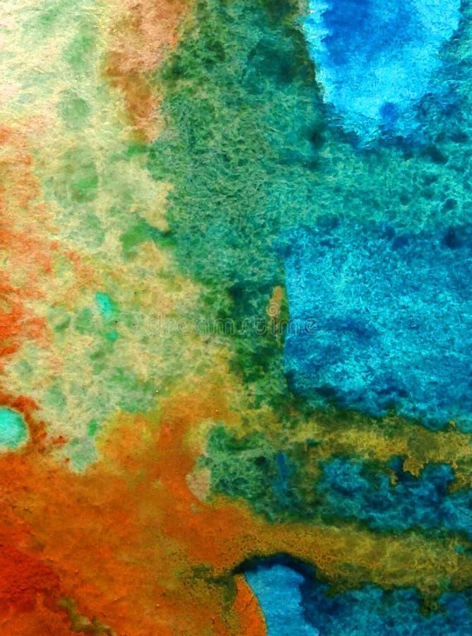 Aquarellkunsthintergrund-Zusammenfassungsregen liqued bunter blauer Überlauf liqued nasse unscharfe Texturdekoration lizenzfreie stockfotos
