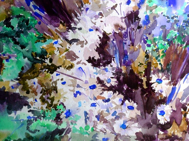 Aquarellkunstzusammenfassungshintergrund verwischte moderne strukturierte nasse Wäsche der frischen schönen Blumenwildflowerskami stock abbildung