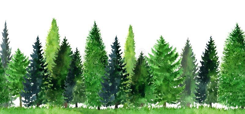 Aquarelllandschaft mit Bäumen lizenzfreie abbildung