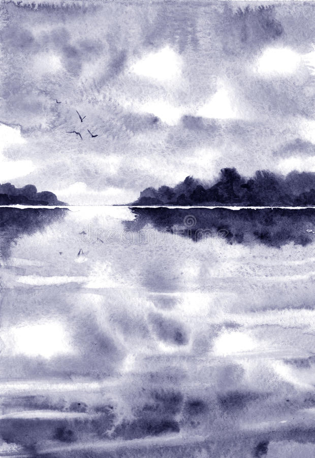 Aquarelllandschaft mit Fluss und geziertem Wald, Regenwolken vektor abbildung
