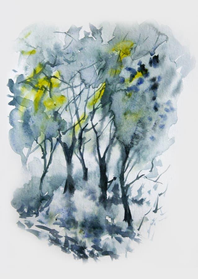 Aquarelllandschaft mit grauem nebeligem Wald stockfoto