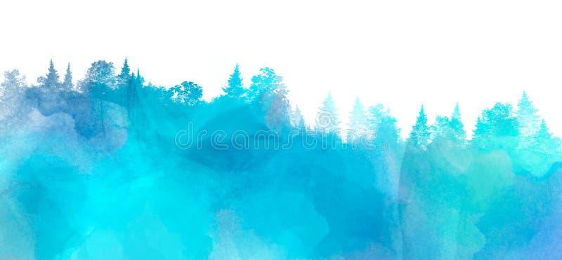 Aquarelllandschaft mit Kiefer und Tannenbäumen in der blauen Farbe, abstrakter Naturhintergrund auf weißem, Waldschablone lizenzfreie abbildung