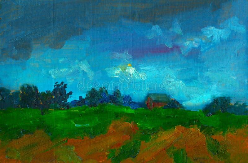 Aquarelllandschaft mit Malerei-Ölillustrationsplakatdruckpostkartensegeltuch-Tapetenmuster kleinen Hauses Baumamerikanischen nati vektor abbildung