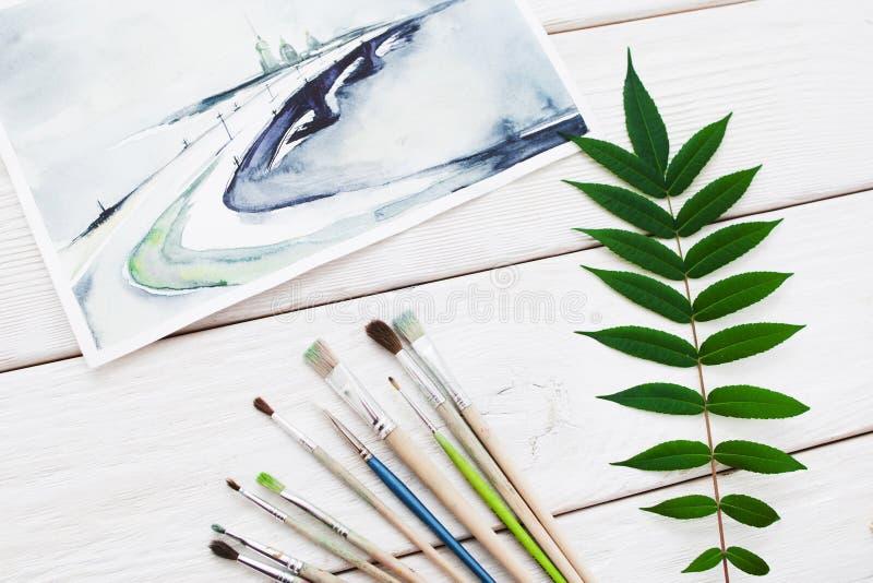 Aquarelllandschaftsbild mit Bürste und Blättern vektor abbildung