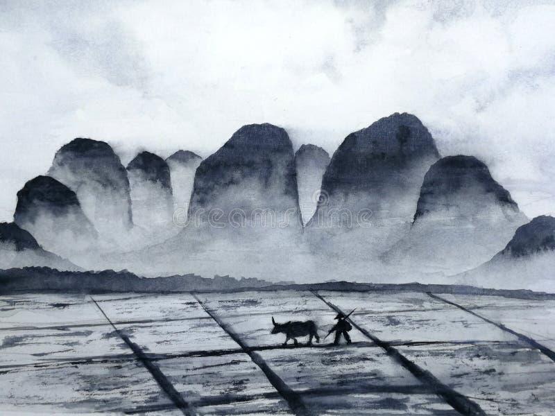 Aquarelllandschaftschinesisches Gebirgsfeld mit Büffel- und Landwirtmann in der Landschaft traditionelle orientalische Tintenasie lizenzfreie abbildung