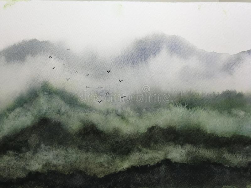 Aquarelllandschaftsgebirgsnebel und -vögel traditionelle orientalische Tintenasien-Kunstart stock abbildung