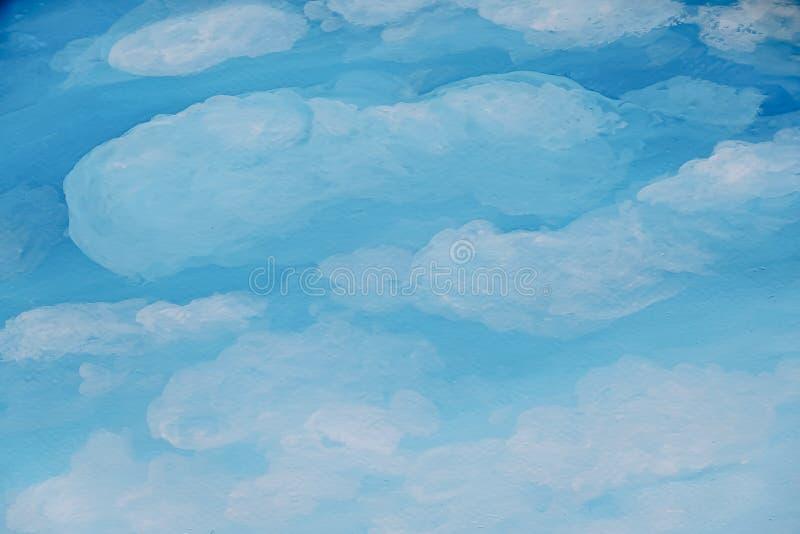Aquarelllandschaftsmalerei clound Hintergrund mit Raum für Text Ursprünglicher Anstrich lizenzfreie stockbilder