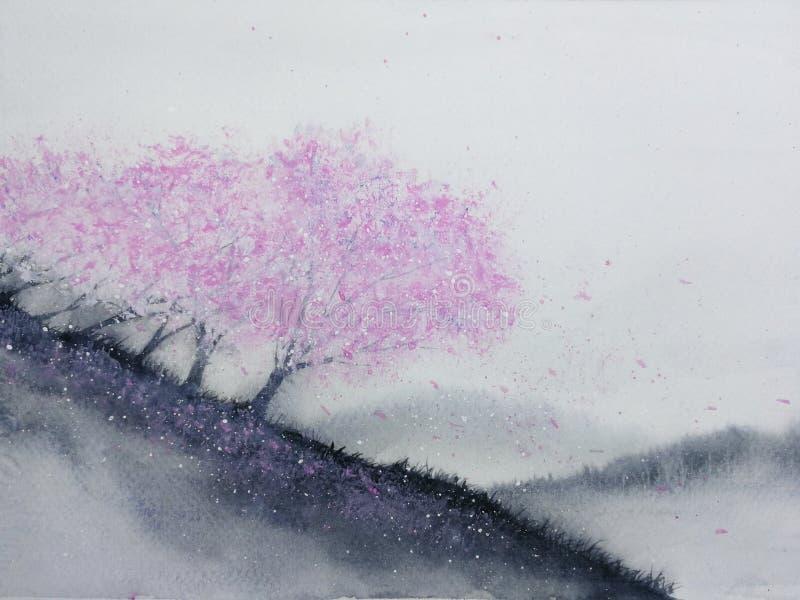 Aquarelllandschaftsrosabaum-Kirschblüte oder Kirschblüte-Blatt, das zum Wind im Gebirgshügel mit Wiesenfeld fällt traditionell stock abbildung