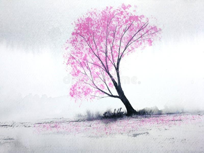 Aquarelllandschaftsrosabaum-Kirschbl?te oder Kirschbl?te-Blatt, das zum Wind im Gebirgsh?gel mit Wiesenfeld f?llt traditionell lizenzfreie abbildung