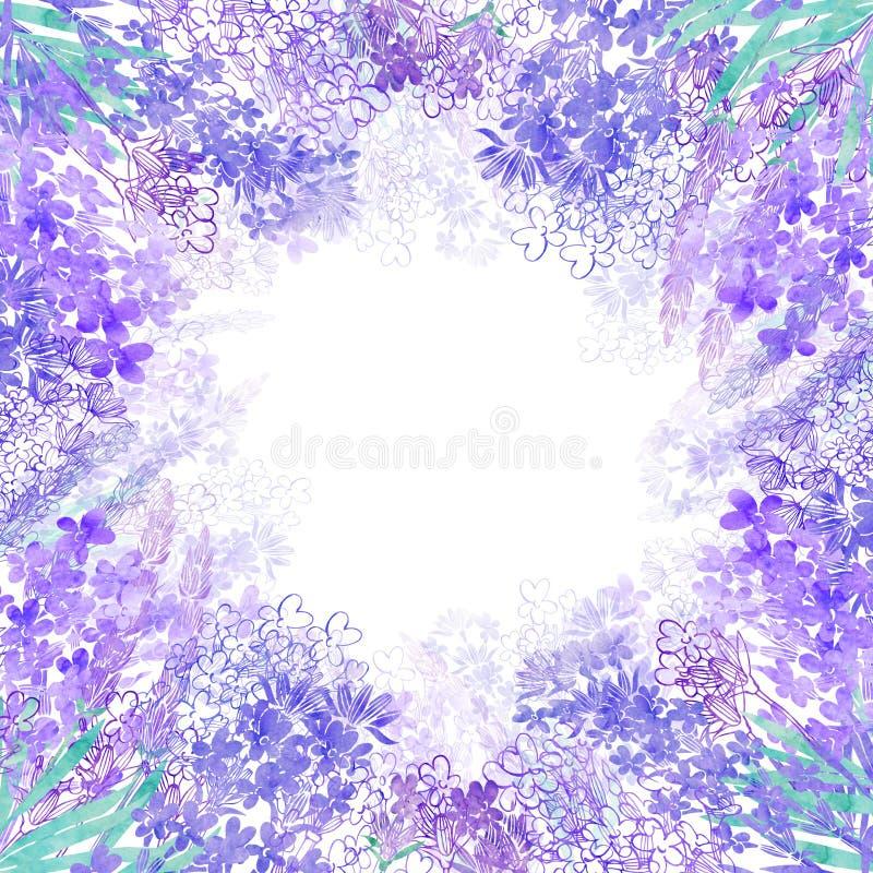 Aquarelllavendelblumen auf einem weißen Hintergrund Rundes Blumenfeld Einladung, Grußkarte oder ein Element für Ihr Design stock abbildung