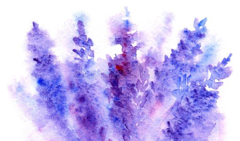Aquarelllavendelblumenblütenzusammenfassungs-Hintergrundbeschaffenheit lizenzfreie abbildung