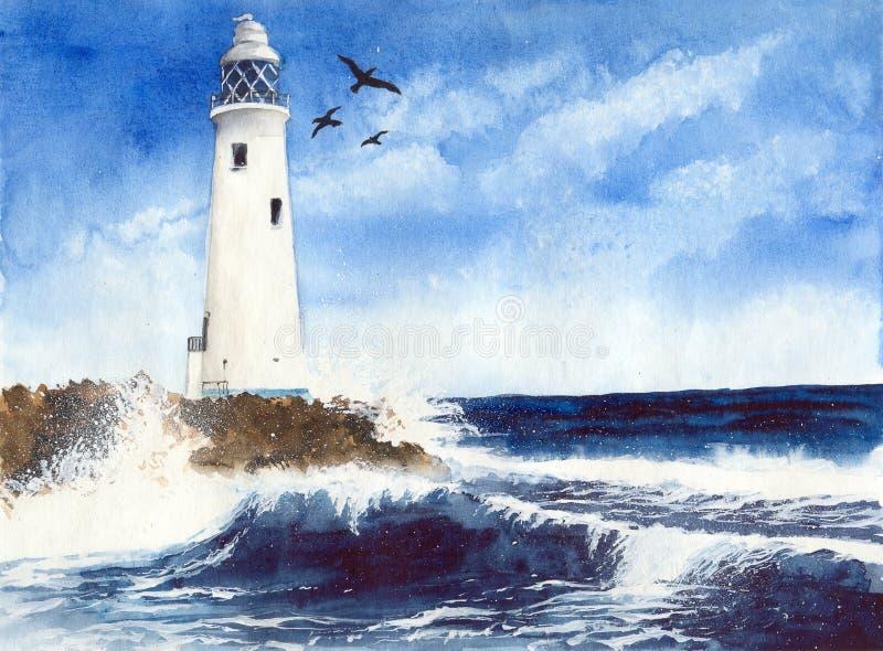 Aquarellleuchtturm mit Möven lizenzfreie abbildung