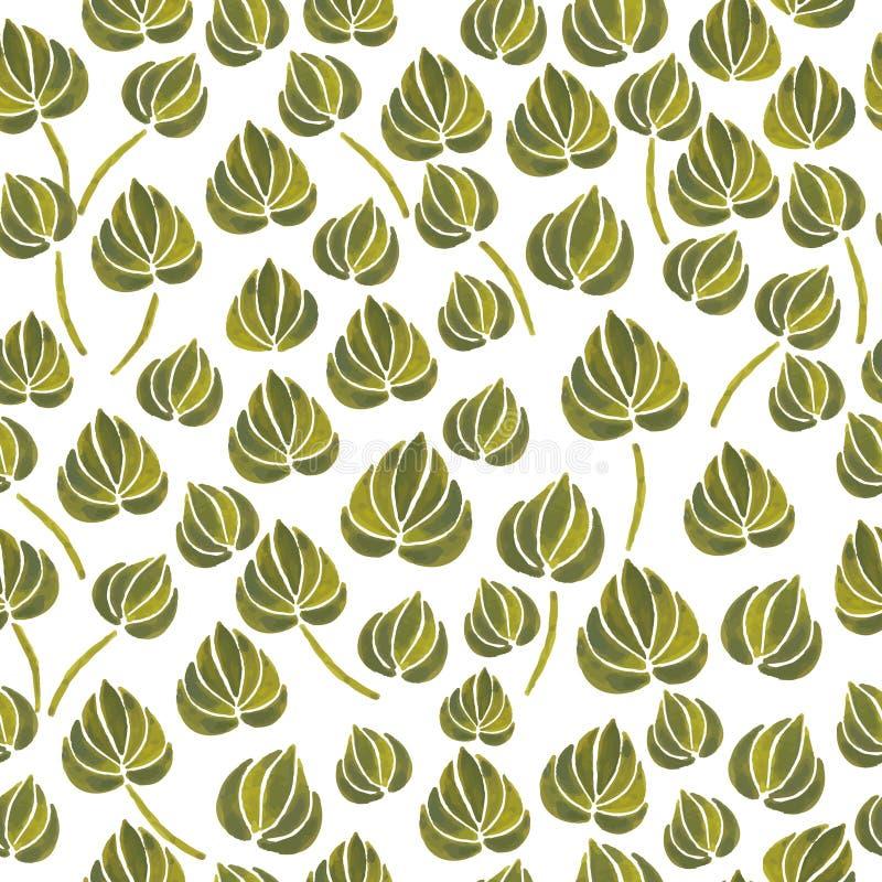 Aquarelllilienblumen-Blattmuster vektor abbildung