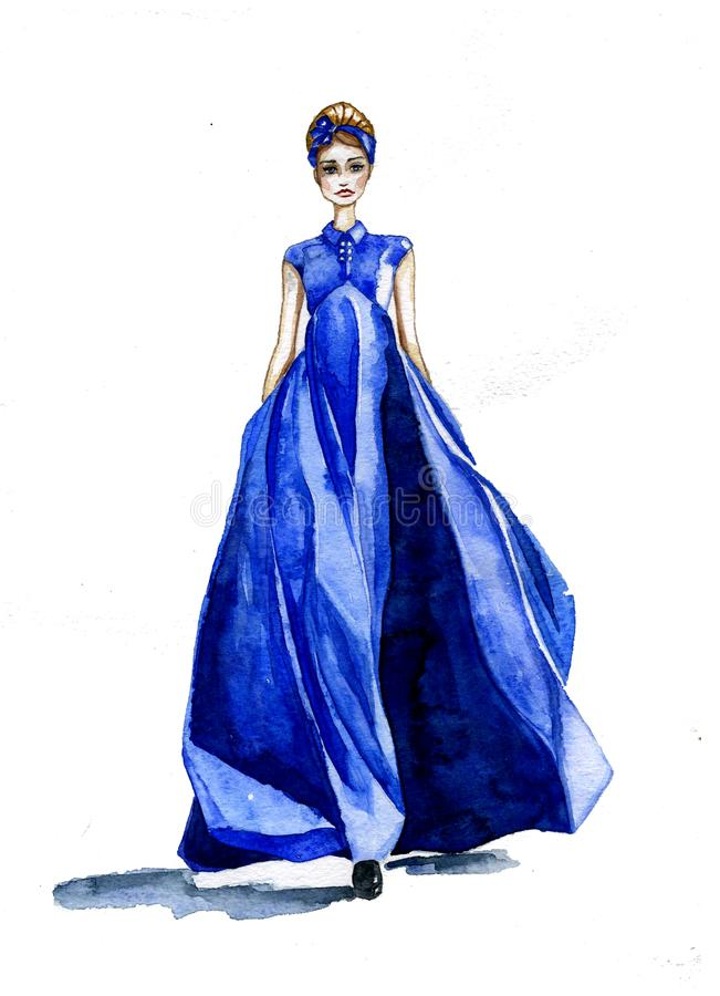Aquarellmädchen, das in ein blaues langes breites Kleid geht stock abbildung