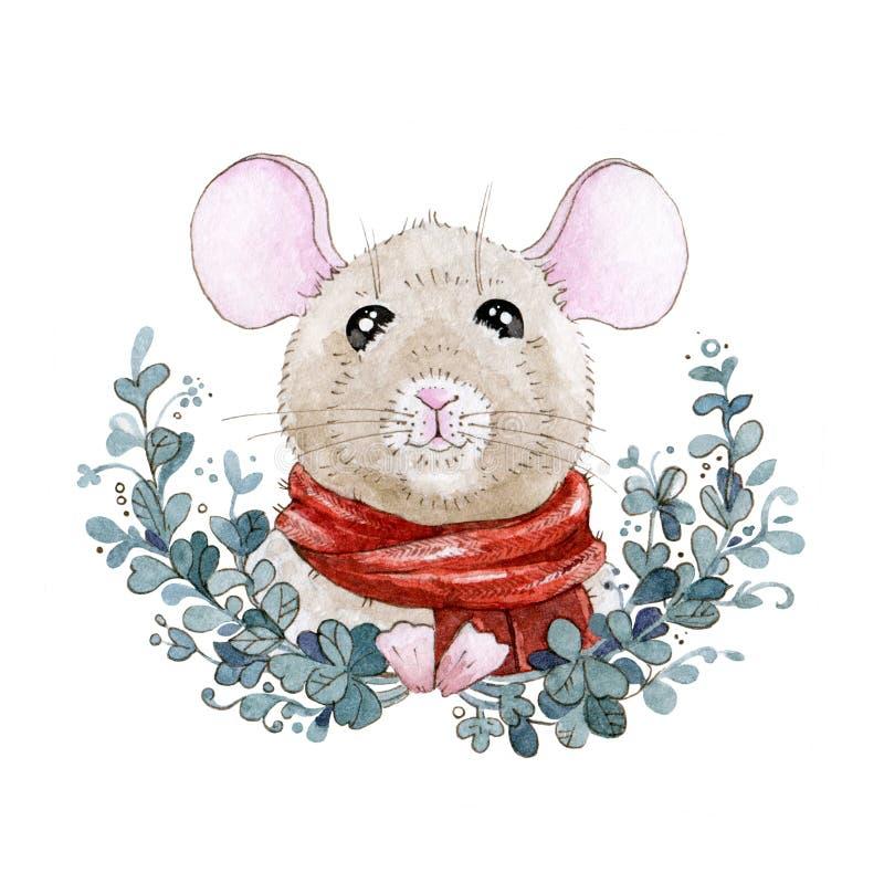 Aquarellmäuse- oder -rattenillustration in einem roten Schal mit Kranz Nette kleine Maus ein simbol chinesische des neuen Jahres  lizenzfreie abbildung