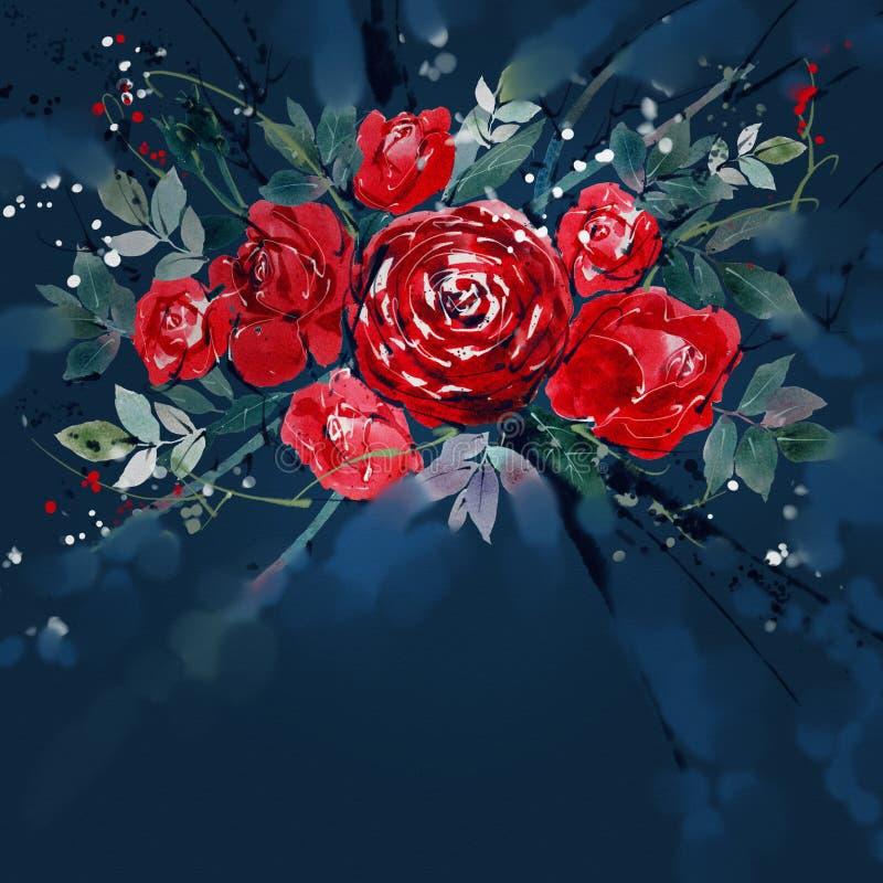 Aquarellmalerei Blumenblumenstrauß-Rosenrot stock abbildung