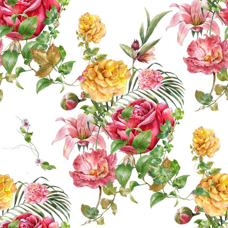Aquarellmalerei des Blattes und der Blumen, nahtloses Muster stockbild