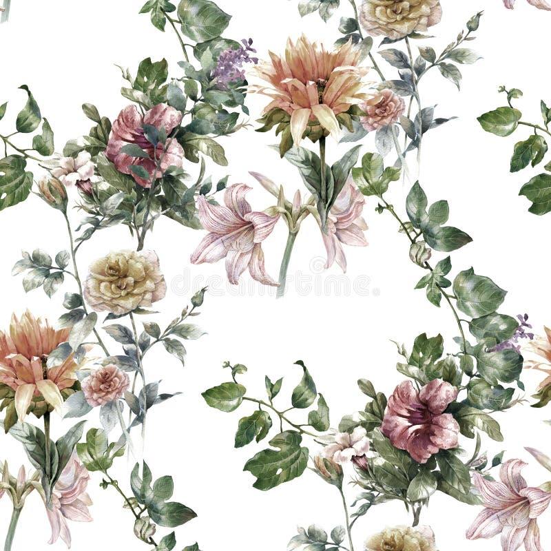 Aquarellmalerei des Blattes und der Blumen, nahtloses Muster stockfoto