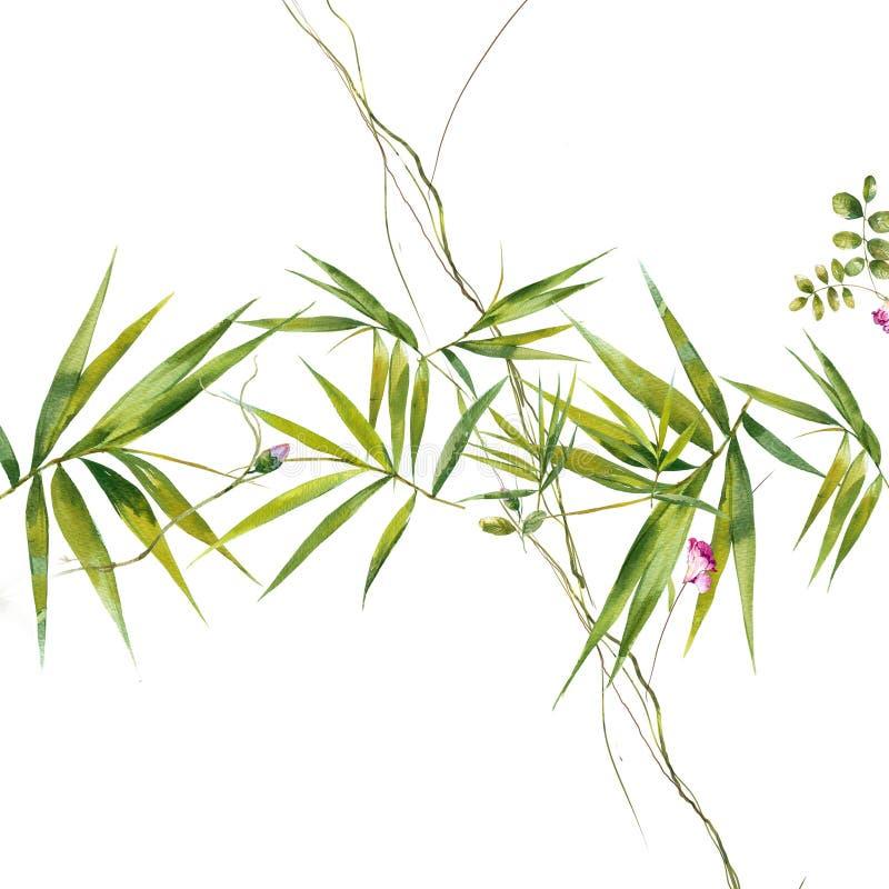 Aquarellmalerei des Blattes und der Blumen, nahtloses Muster auf Wei? lizenzfreie stockbilder