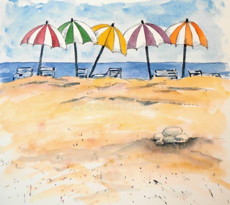 Regenschirme am Strand stockfotos