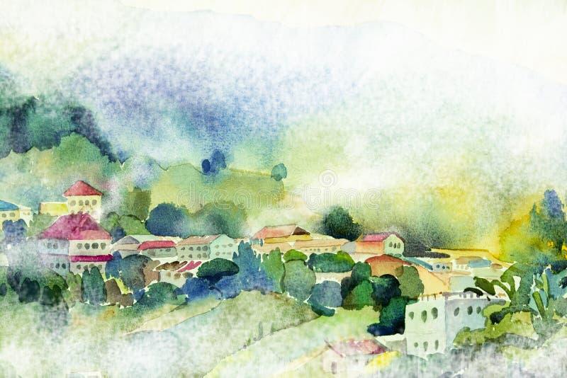 Aquarellmalerei-Dorfansicht über Hügelberg lizenzfreie abbildung