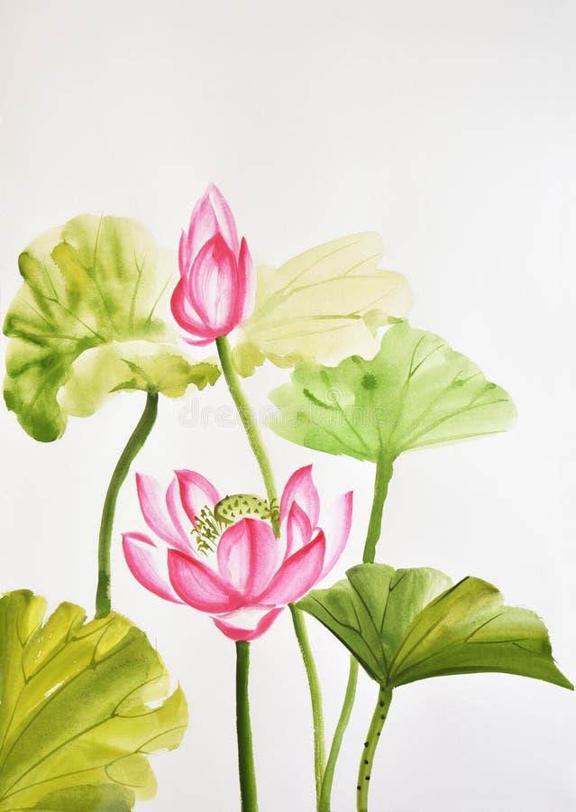 Aquarellmalerei von Lotosblättern und -blume stockfoto